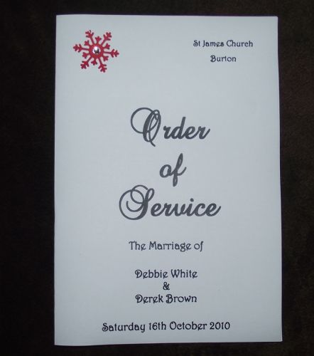 order of service - various colours Personalised Snowflake Winter wedding x10
